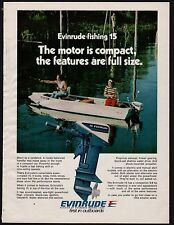 1975 Evinrude 15 Fishing Outboard Motor Print Ad Vintage Advertising
