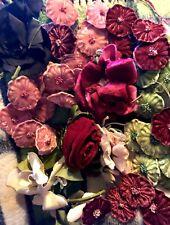 Vintage Large Lot Hat Millinery Flowers Roses Velvet Trim