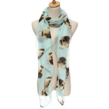Fashion Women Winter Warm Animal Pugs Dog Print Wrap Scarf Shawl Stole Pashmina