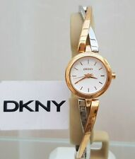 DKNY Ladies Designer Watch Rose gold Two tone Twisted bracelet RRP £169 (548)