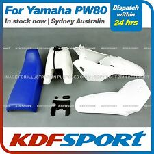 KDF FOR YAMAHAX PW80 PY80 PLASTIC FENDER COVER + TANK  (WHITE) + SEAT (BLUE)