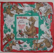 Hiking is Fun! Smokey The Bear, Children's Vintage Handkerchief/Hankie