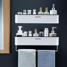 Wall Mounted Bathroom Storage Rack Shampoo Lotion Organizer Shelf Towel Holder