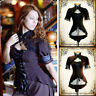Costume Lace Victorian up Tops Women T-shirt Gothic Steampunk Short Sleeve