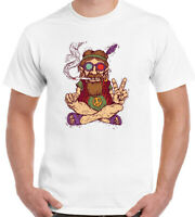 Chilled Out Hippy Smoking A Spliff - Mens Funny T-Shirt Peace Love Weed