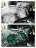 Dark Tropical Leaf Duvet Quilt Cover & Pillow Case Bedding Set Green Grey