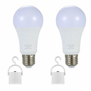 2 Pack E26/E27 Rechargeable LED Light Bulbs 60W 6000K Outdoor Emergency Lamps