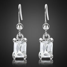 Fashion Jewelry Lady Fine Clear Topaz White Gold Plated Dangle Drop Earrings New