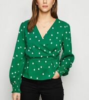 New Look Blouse Top Size 10 & 12 Green Spot Peplum Wrap Top Love Sleeve EZ21