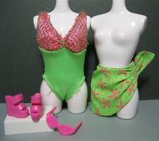 BARBIE DOLL Green Beach Fun Clothes Swim Suit 1-piece Sanddollar skirt sunglass