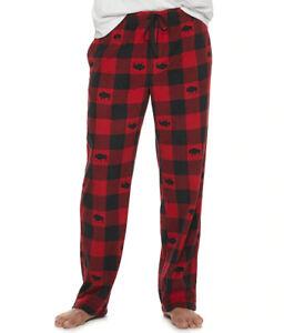 Mens XL Buffalo Plaid Soft Micro-Fleece Lounge Pants Black Red Lodge Pajamas