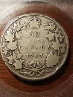 ➡➡1907 King Edward VII 50 cents Silver Graded VG Key SCARCE date