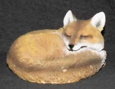 Sleeping Fox Statuette Decorative Ornament Zoo Animal Wildlife Garden Figurine