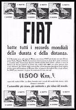 PUBBLICITA' 1925 FIAT 501 RECORD DEL MONDO DURATA DISTANZA  MONZA  TESTA SILVANI