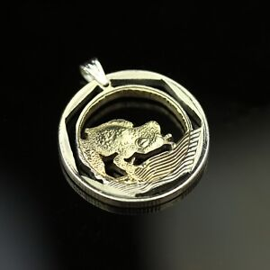 Colombia 500 pesos cut coin pendant with necklace glass frog