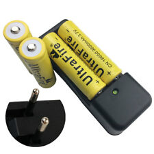 4X 18650 9800mAh 3.7V Li-ion Rechargeable Battery+ EU Charger For Doorbell Torch