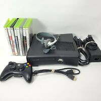 Microsoft Xbox 360 S System Lot w/ 8 Games Console Bundle Black 1439 Tested