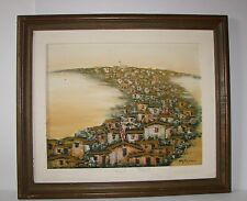Vintage Encadré Peinture à l'huile sur toile-Oriental City/Ville-Signé arimizu