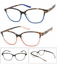 1 or 2 Pair Cat Eye Two Tone Frame Full Lens Reading Glasses Spring Hinge Temple