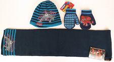 Marvel Spider-Man Boy's Navy Gray Beanie Hat & Mittens & Scarf 3 Pcs set
