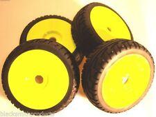 Neumáticos, llantas y bujes de color principal amarillo para vehículos de radiocontrol 1:8
