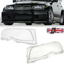 Pair Front Right + Left Headlight Lens Plastic Cover For BMW E46 4DR 2001-2005