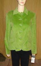 """""""Requirements"""" Lime Green Blazer Jacket (Look of Velvet)~Size 8~5 Button Closure"""