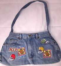 "New Denim ""Football"" Purse Hobo Tote Shoulder Bag Handbag Jeans Pants Pockets"