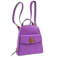CELINE Logos Backpack Hand Bag Light Purple Leather Italy MC96* A41059e