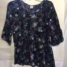 Arizona Jean Company Womens Top Black Floral 3/4 Sleeve Ruffles Juniors Plus XL