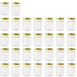 30 Pack 4 oz Clear Hexagon Spice Jars Small Glass Jars With Lids(Golden) Mason
