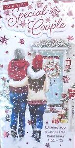 SPECIAL COUPLE CHRISTMAS CARD ~ Traditional Couple Garden Scene & Snowflakes
