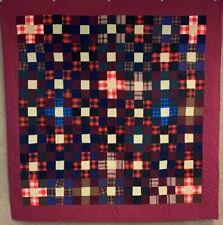 Jewel Tones! PA c 1890-1900 Nine Patch QUILT Antique Amish Mennonite