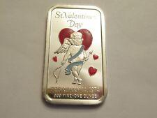 Vintage 1 oz Silver Bar, .999 fine, Ceeco 1974 St. Valentines Day, colorized