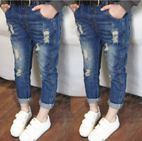 Toddler Kids Baby Girls Boys Ripped Denim Skinny Jeans Stretchy Pants Trousers