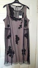 Next size 14 black net embellished occasion dress