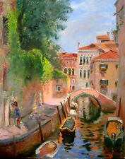Venice, Italy, Ponte Moro, painting, bridge, Giclee print on canvas by Star