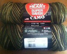 2 Skeins Red Heart Green Camo Yarn
