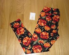 LULAROE ~ Tall & Curvy TC LEGGINGS ~Gorgeous Floral Flowers Black Background NEW