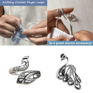 Ring Knitting Loop Crochet Tool Finger Wear Thimble Yarn Adjustable Finger Ring!