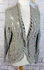 "TOPSHOP cardigan S M bust 40"" 14 green khaki grey loose knit long sleeve"