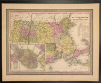 """Map of Massachusetts and Rhode Island"" by Mitchell 1846"