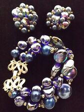 Trifari signed bracelet and earrings set blue stone glass bead silver