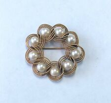 9 Cultured Pearl Large Brooch Pin Vintage Lovely 14K Solid Gold Woven Rope
