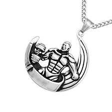 Silver Stainless Steel Muscle Man Sports Gym Dumbbells Moon Pendant Necklace