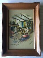 "Vintage Paul Porter Art Print ""The Old Spinning Wheel"", 8"" x 12"" (Image), Framed"