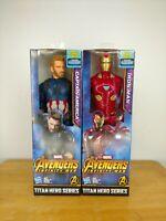 "NEW Marvel Avengers Titan Captain America & Iron Man 12"" Action Figures 2 Pack"