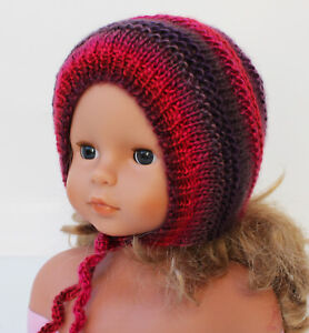 Baby Girl Hat Bonnet Handmade Knit Red Purple, Approx. 9-10 months