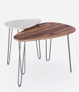 Nathan James Bodhi Mid-Century Nesting Coffee Table Set of 2, Stacking Side or