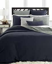 Hotel Collection Linen KING Duvet Comforter Cover NAVY Bedding Retail $340 C873